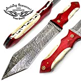 "Cheap Camel Bone + Red Wood 11.5"" Fixed Blade Handmade Damascus Steel Tagger Hunting Knife 100% Prime Quality"