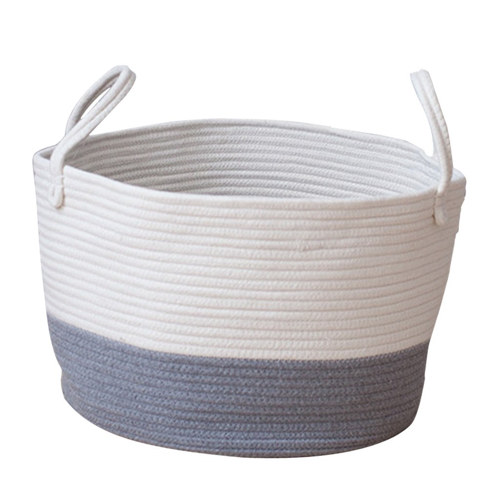 Baoblaze Round Cotton Rattan Handmade Woven Storage Baskets Laundry Basket for Towels Clothes Toys Sundries Organizing - Blue L, as Described