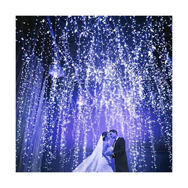 Ankway luci Stringa Solare, 200 LED 8 Modi Lunghezza 22M/72ft, Luci Energia Solare Impermeabili Interni e Esterni per Giardino Natale Matrimoni e Feste,Blu 4 spesavip