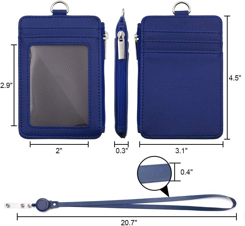 Porte-badge avec fermeture /Éclair 1 poche lat/érale et cordon tour de cou r/étractable de 50,8 cm taille unique bleu porte-carte didentit/é avec 5 emplacements pour cartes