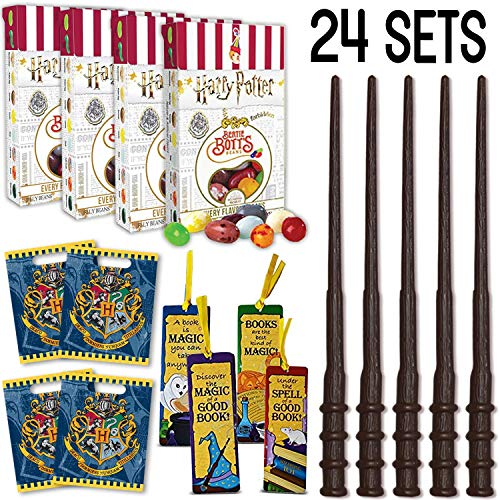 Wizard Party Favors - 24 Boxes Harry Potter Bertie Botts Every Flavour Beans, 24 Wands, 48 Bookmarks (4 Styles), 24 Loot Bags - Great for Birthday and Theme Party Prizes, Handouts & Gifts