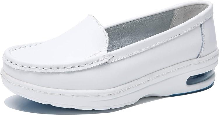 TRULAND Zapatos Mocasines Confort Antideslizante en Cuero Ligeros Cámara de Aire para Mujer Blancos Negros Zapatos de Trabajo Sanitarios Enfermera