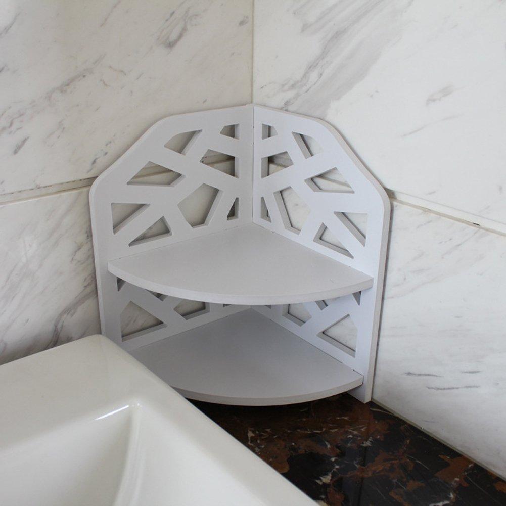 VERCART Small Corner Shelf Bathroom Toilet Storage Rack Creative PVC Wood Home Plate Ledge