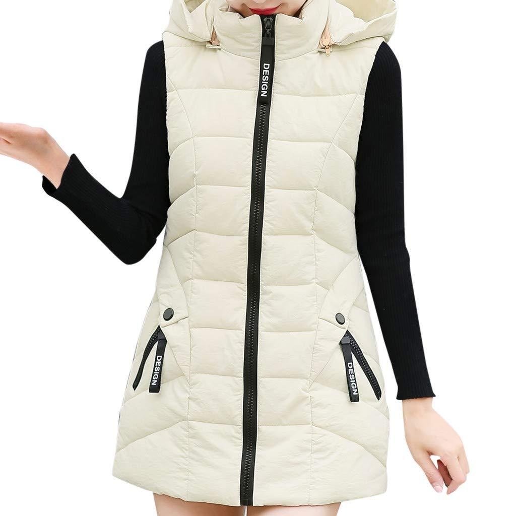 Gergeos Women's Long Puffer Vest Plus Size Lightweight Sleeveless Winter Hooded Outerwear with Pockets(Beige,XXXXL) by Gergeos