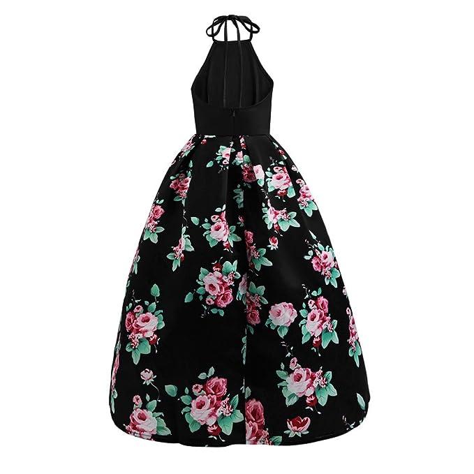 Vestidos Espalda Descubierta Con Estampado Flor Mujer LHWY, Vestidos Largo De Cuello Halter Sexy Vestidos