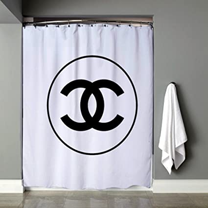 Black Chanel Logo Shower Curtain 36quot