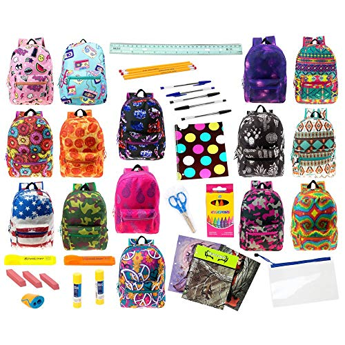 """17"""" Wholesale Classic Padded Backpacks in 8 to 12 Prints with 30 Piece School Supply Kit - Bulk Case of 12 Pack Bundles"""
