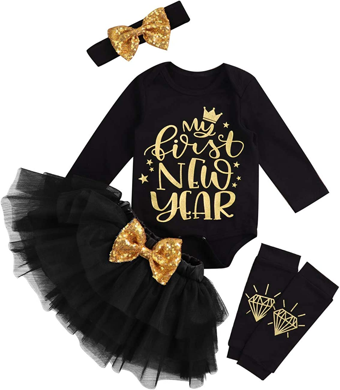 itkidboy My Frist Newyear Newborn Baby Girl Clothes Letter Romper+Tulle Tutu Skirt Outfit Set