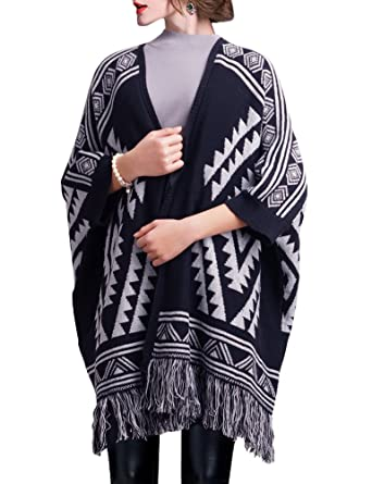 aa31a52af809 DELUXSEY Womens Aztec Cardigans - Poncho Shawl Cape - Poncho Sweater ...