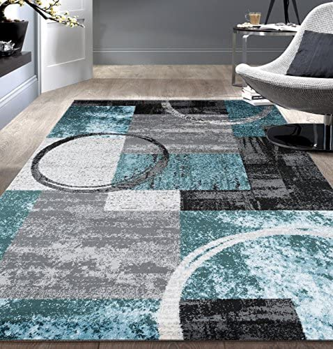 Contemporary Abstract Circle Design Gray Soft 7 10 x 10 2 Indoor Area Rug