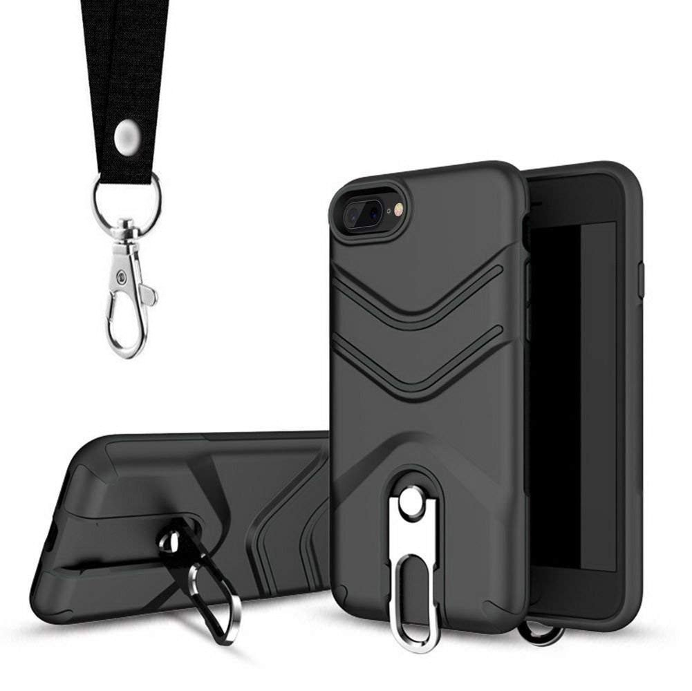 iPhone 8 Plus Case, iPhone 7 Plus Case, Suordii Lanyard Strap Case Dual Layer Hybrid Protective Case with Metal Kickstand for Apple iPhone 7/8 5.5 inch Hybrid Hard Back Cover (Black)