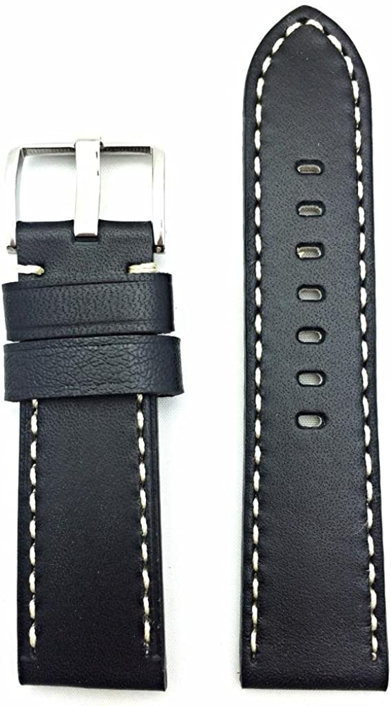 24mm Black Leather Watch Band Compatible with Panerai Watch | Smooth Replacement Wrist Strap Bracelet with Contrasting Off White Stitches that brings New Life to Any Watch (Mens Standard Length)