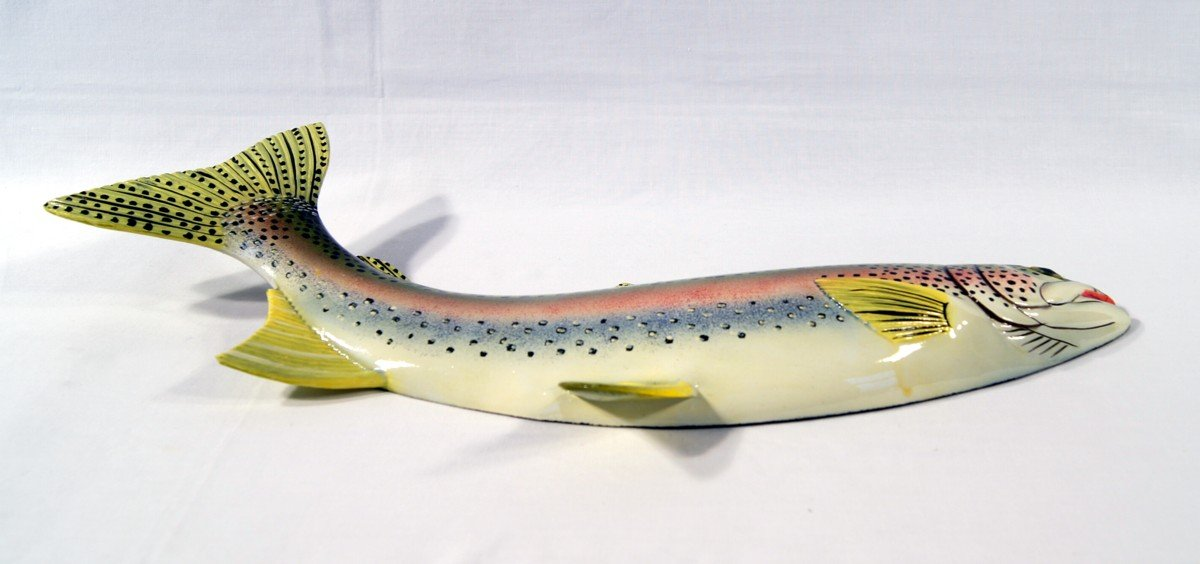 LX Hand Painted Rainbow Trout Wall Mount Decor Plaque Game Fish Replica 18 star