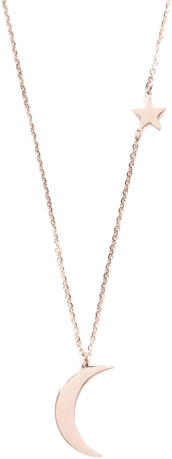 Happiness Boutique Women Star and Moon Pendant Delicate Chain Necklace Rose Gold Necklace with Half Moon Charm Nickel Free