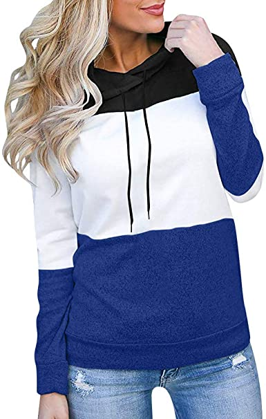 Againg Bandage Colorblock Backless Pullover Hoodie Hooded Sweatshirt