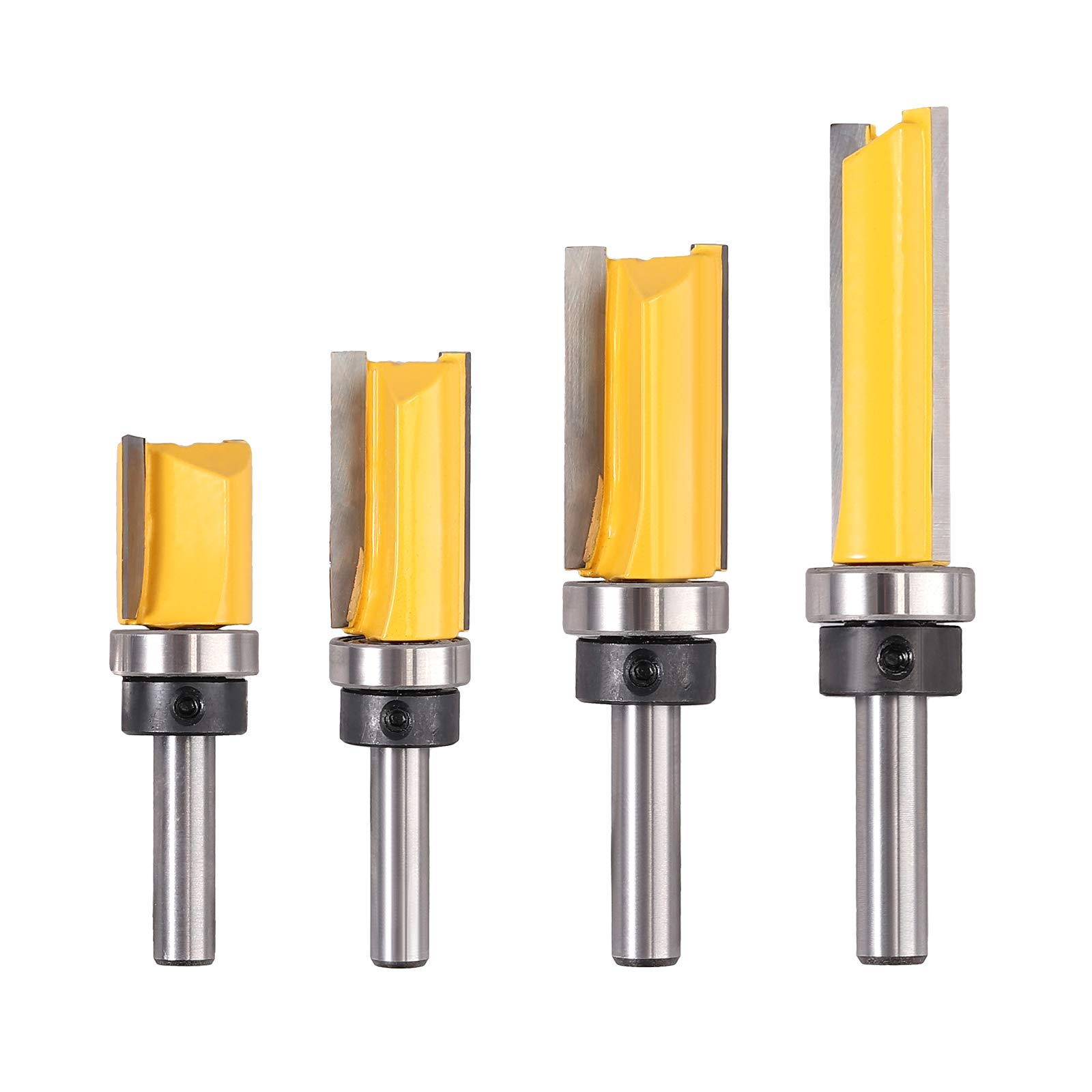 "Justech 4PCs 8mm Shank Dia 3/4"" Straight Router Bit Set Milling Cutter Trimming Cutter for Woodworking"