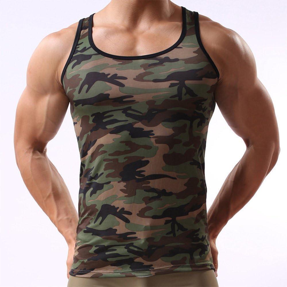 Luckycat Herren /Ärmelloses T Shirt Sommer Basic Slim Fit Muskelshirt Fitness Tank Top Camouflage Tank Top f/ür Herren Sport Gym Fitness Bodybuilding Muscle Shirt Stringer Tanktop Unterhemd Achselshirt
