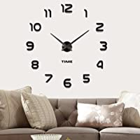 Vangold Moderne Mute DIY große Wanduhr 3D Aufkleber Home Office Decor Geschenk - 2 Jahre Garantie (schwarz-42)