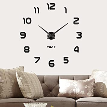 Vangold Frameless DIY Wall Clock 3D Mirror Large Mute Stickers For Living Room
