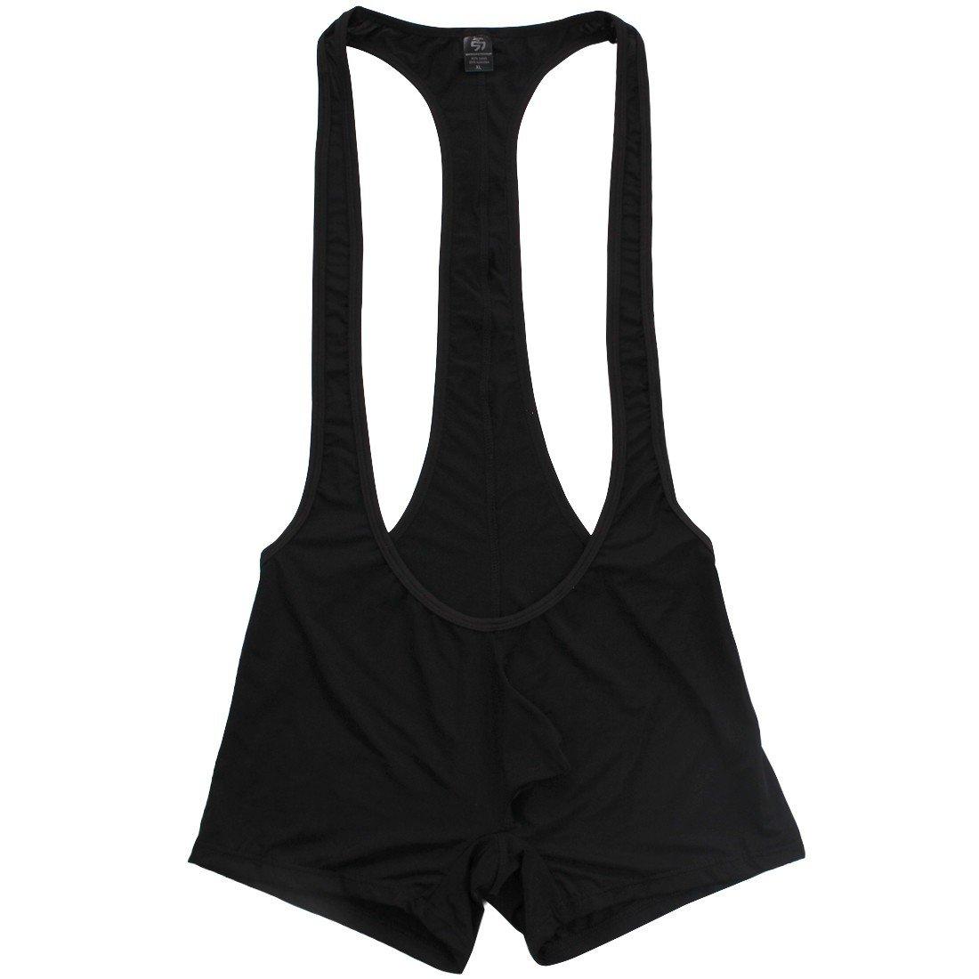 TiaoBug Men's Wrestling Singlet Smooth Freestyle Jockstrap Bodysuit Underwear Black Medium by TiaoBug