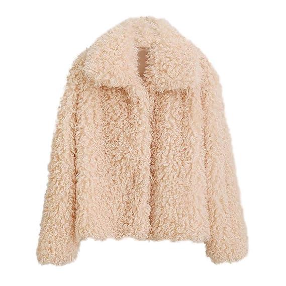 ❤ Mujeres de Invierno Cortas de Felpa, Abrigo Grueso de Abrigo de Invierno de Mujer Abrigo Grueso sólido Abrigo Exterior Abrigo de Chaqueta de Punto ...