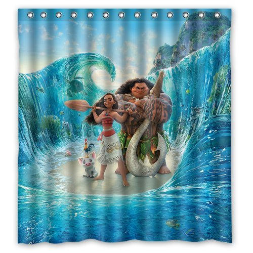 Welcome! Moana Movies Animation Waterproof And Mildew Resistant Decorative Shower Curtain 66x 72-Inch
