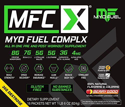 Amazon.com: MyoFuel Complx Pre-and-Post Workout with BCAAs, Creatine, Citrulline Malate, Carnosyn Beta-Alanine, Alpha Lipoic Acid, Glutamine, Dextrose, ...
