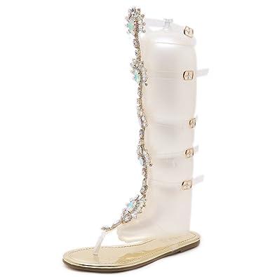 311de85f67364 Dear Time Women Gladiator Flats Sandals Summer Rhinestone Ankle Strap  Buckle Transparent Strip Knee-High