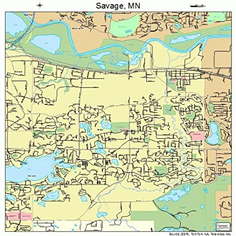 Amazon.com: Large Street & Road Map of Savage, Minnesota MN ...