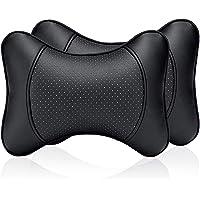 DSstyles Almohada para el cuello del coche 2 piezas Almohada de viaje de cuero de la PU para el apoyo del cuello del reposacabezas para el asiento del coche (Negro)