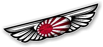 Vintage diseño de emblema alado tradicional diseño de sol naciente japonés País Bandera para casco para