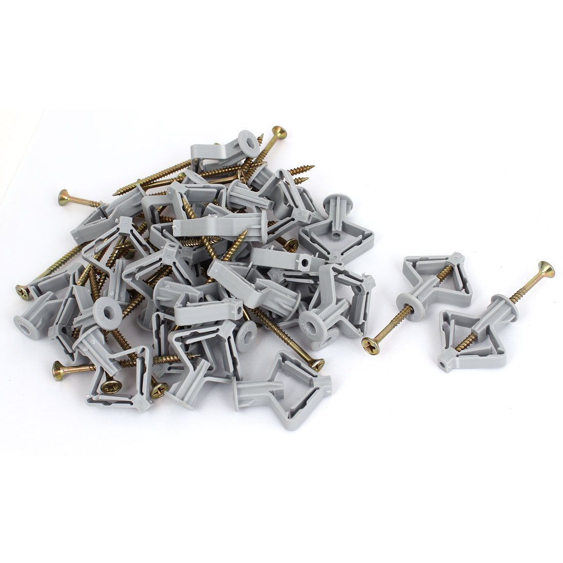 sourcing map Gypsum Board Hollow Expansion Pipe Screw Archor Bolt Plugs 30pcs