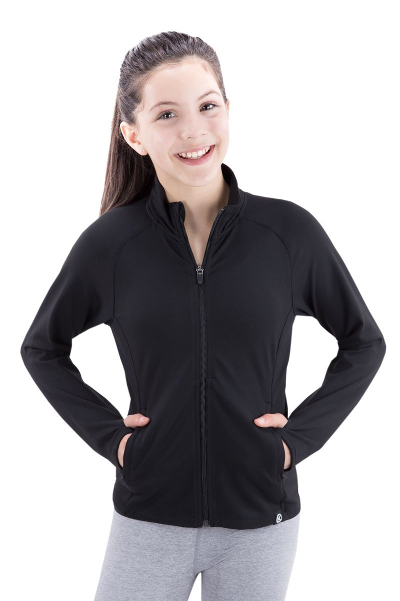 Covalent Activewear Girls Flex Jacket-04-YS Black by Covalent Activewear