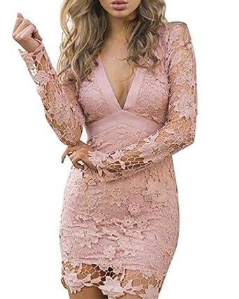 YOGLY Spitze Rückenfrei Tief V-Ausschnitt Lange Ärmel Sexy Damen Kleid Kurz  Kleid Cocktailkleid , Gr. M, Rosa  Amazon.de  Bekleidung f955608fe1