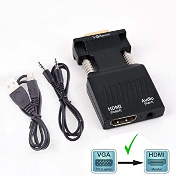 TB® - Adaptador VGA a HDMI con Audio (Salida de PC VGA a TV ...