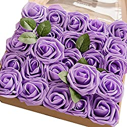 Ling's moment Artificial Flowers Lavender Roses 50pcs Real Looking Fake Roses w/Stem for DIY Wedding Bouquets Centerpieces Arrangements Party Baby Shower Home Decorations