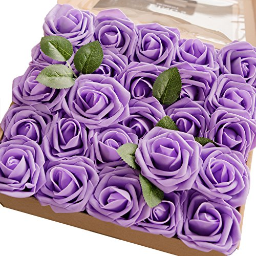 Ling's moment Artificial Flowers Lavender Roses 50pcs Real Looking Fake Roses w/Stem for DIY Wedding Bouquets Centerpieces Arrangements Party Baby Shower Home Decorations -