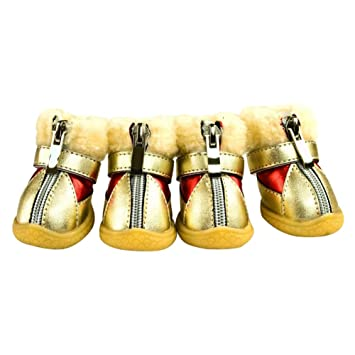 ccd8c6be84329 Amazon.com : Yinrunx Pet Dog PU Leather Shoes Water Resistant Dog ...