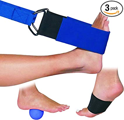 Amazon Com Dr Moe S Solutions Designed By A Physical Therapist Foot And Leg Stretcher For Plantar Fasciitis Massage Ball Stretching Strap Arch Support Yoga Strap Blue Health Personal Care
