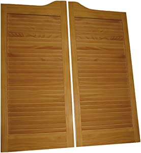 """Pre-Stained (Ready to Install) Cafe Doors Louvered pre-fit for 32"""" Finished Opening (24, 30 and 36"""" Sizes Also Available) :: ProLamen Anti-Warp :: Saloon Western Swinging Style Wood Bar Door"""