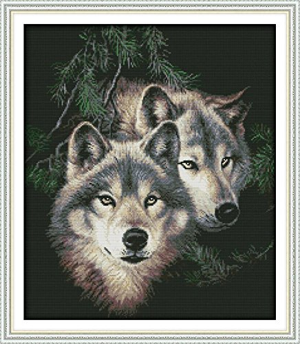 Joy Sunday Stamped Cross Stitch Kits - Counted Cross Stitch Kit, Cross-Stitching Patterns Two Wolf 14CT Pre-Printed Fabric - DIY Art Crafts & Sewing Needlepoints Kit for Home Decor 20''x17''