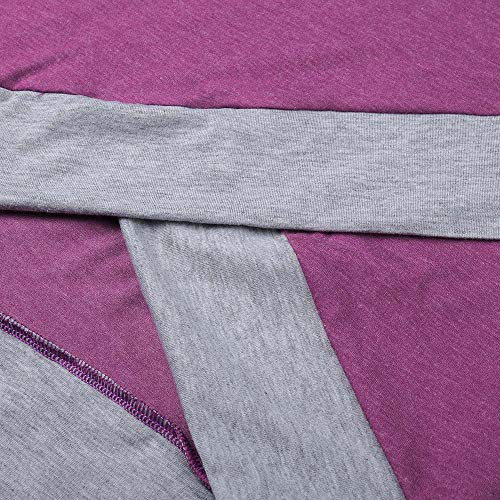 Manches Bringbring en Rouge Blouse Couleur Chemisier Dcontract Automne Vrac Longues Femme Unie T Hauts Shirt Patchwork fxx6YEwq