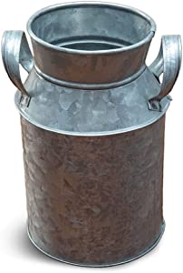 NIRMAN Rustic Galvanized Metal Decorative Vase, Rustic Decorated for Living Room, Bedroom, Kitchen.