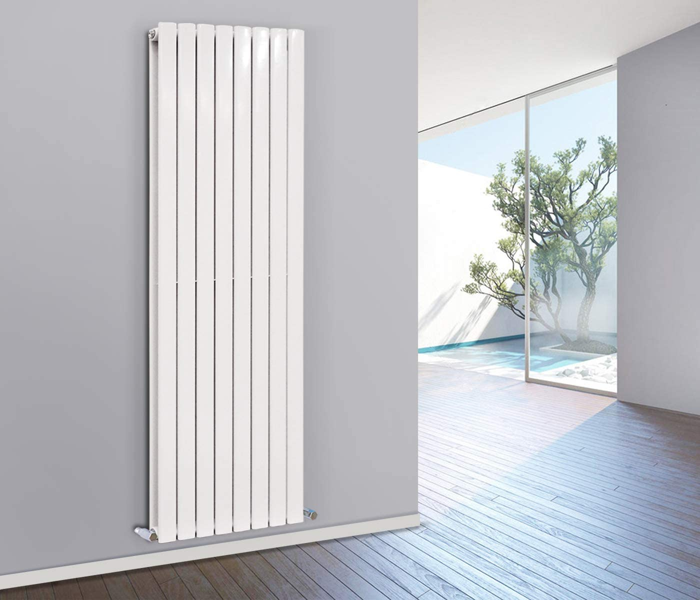 NRG Tall Vertical Flat Panel Radiator Designer Double Column Bathroom Heater Central Heating White 1800x544mm