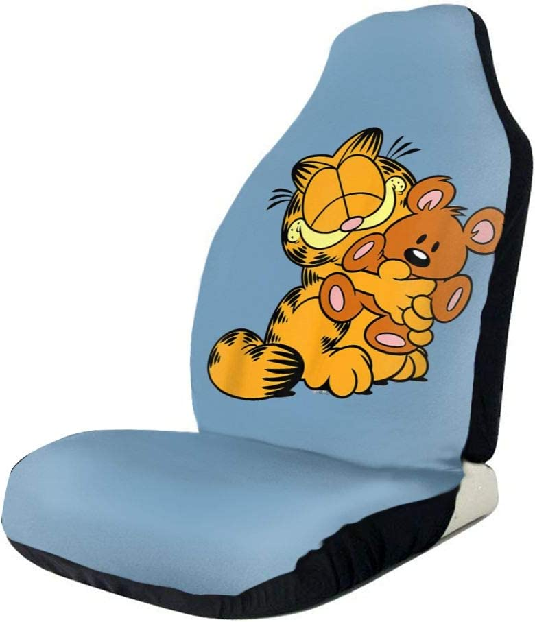 Nmfdz Garfield Hugging Pooky Car Seat Covers Automotive Interior Accessories Front Seat Cover Case Nonslip for Men Women Gifts Universal Fit