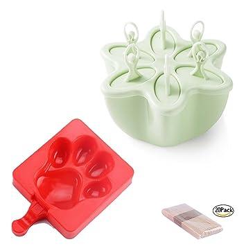 AoDi Creativo helado molde silicona, sin BPA - Kit de 20 palitos de madera: Amazon.es: Hogar