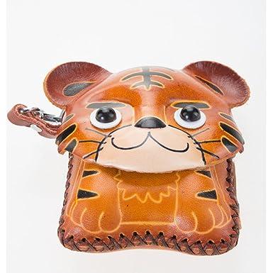 Amazon.com: Tiger cartera de piel clave Cadena Llavero Hecho ...