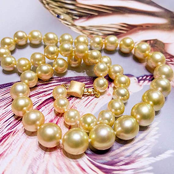 f6fa494dd01e Lnyy Collar de Perlas Doradas del mar del Sur 14k Collar de Perlas Doradas  sin Fisuras Cerca de Oro Hebilla Dorada  Amazon.es  Jardín