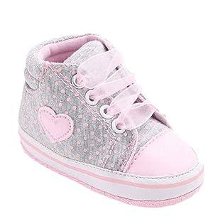 Sagton KidsGirl Canvas Shoe Baby Boys Shoes Sneaker Anti-slip Soft Sole Toddler (US:3, Gray)