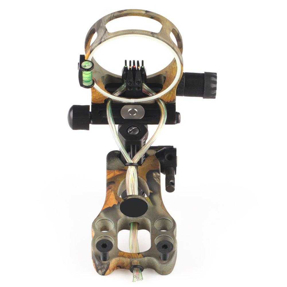 VERY100 Hochwertig Aluminium 5 Punkte 019 Zoll Bogenvisier mit Leuchtdiode Jagdvisier für Compoundbogen Zielvorrichtung Pin Visier